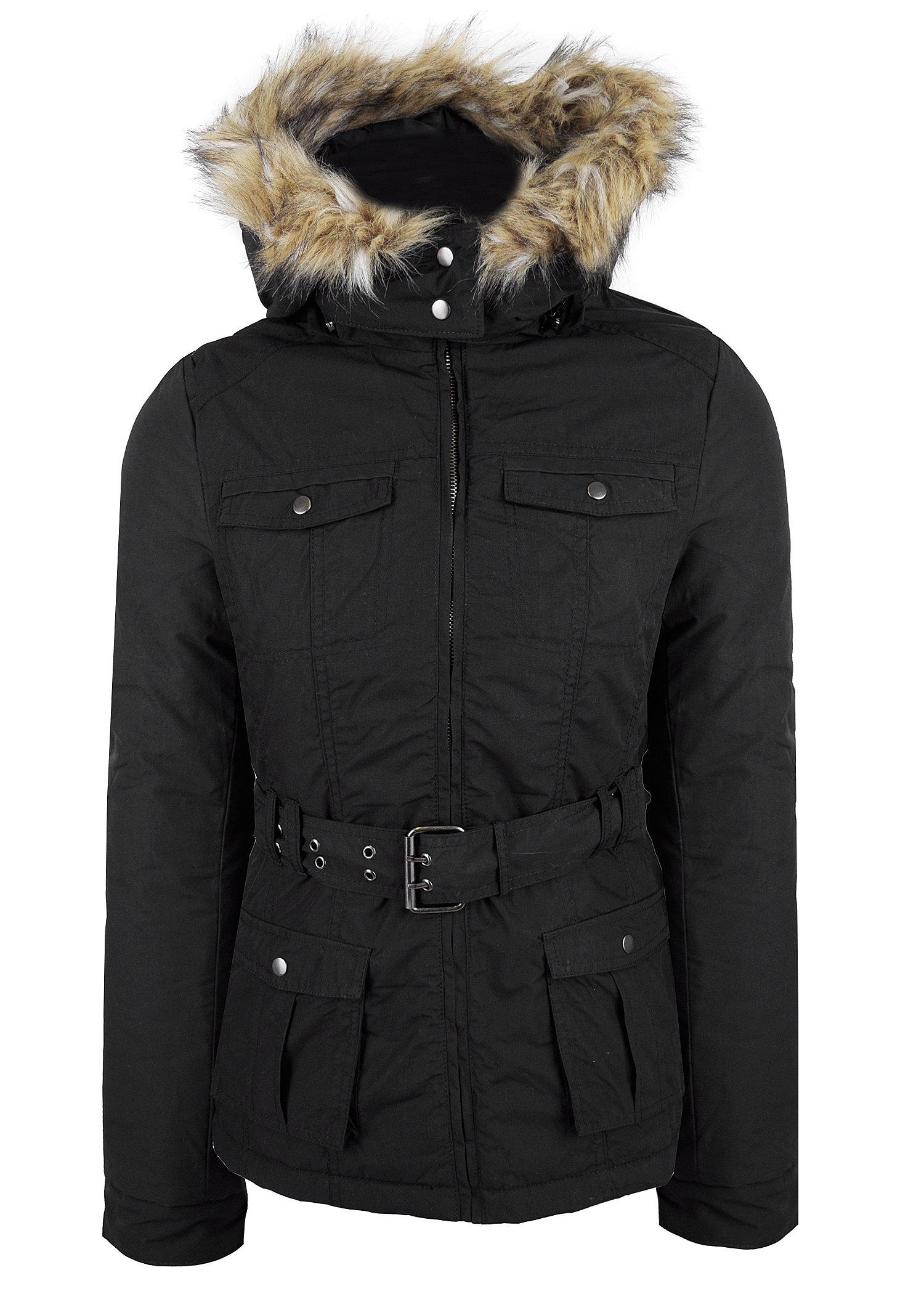 madonna fashion winterjacke fellkapuze g rtel schwarz. Black Bedroom Furniture Sets. Home Design Ideas