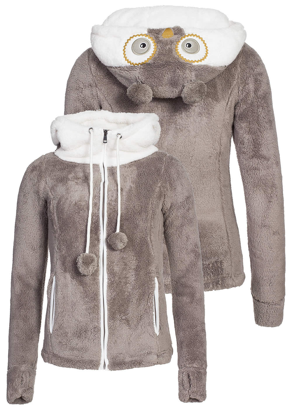 eight2nine damen teddy fleece jacke eule kapuze mit ohren. Black Bedroom Furniture Sets. Home Design Ideas