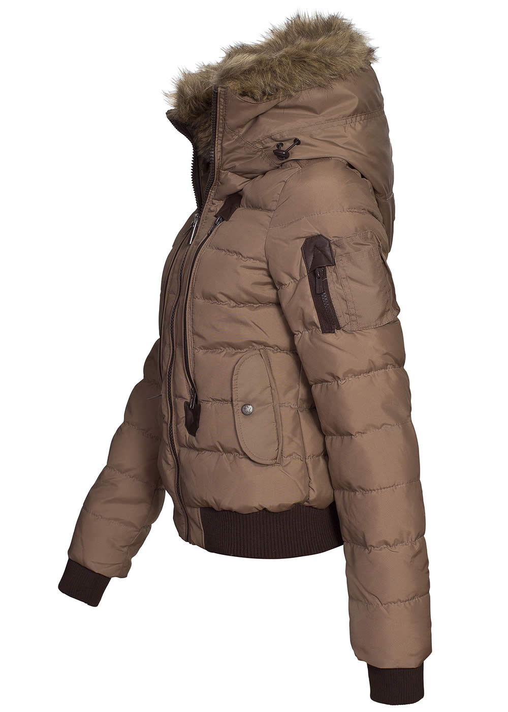 eight2nine damen winter bomber jacke gro e kapuze fell by sublevel braun ebay. Black Bedroom Furniture Sets. Home Design Ideas