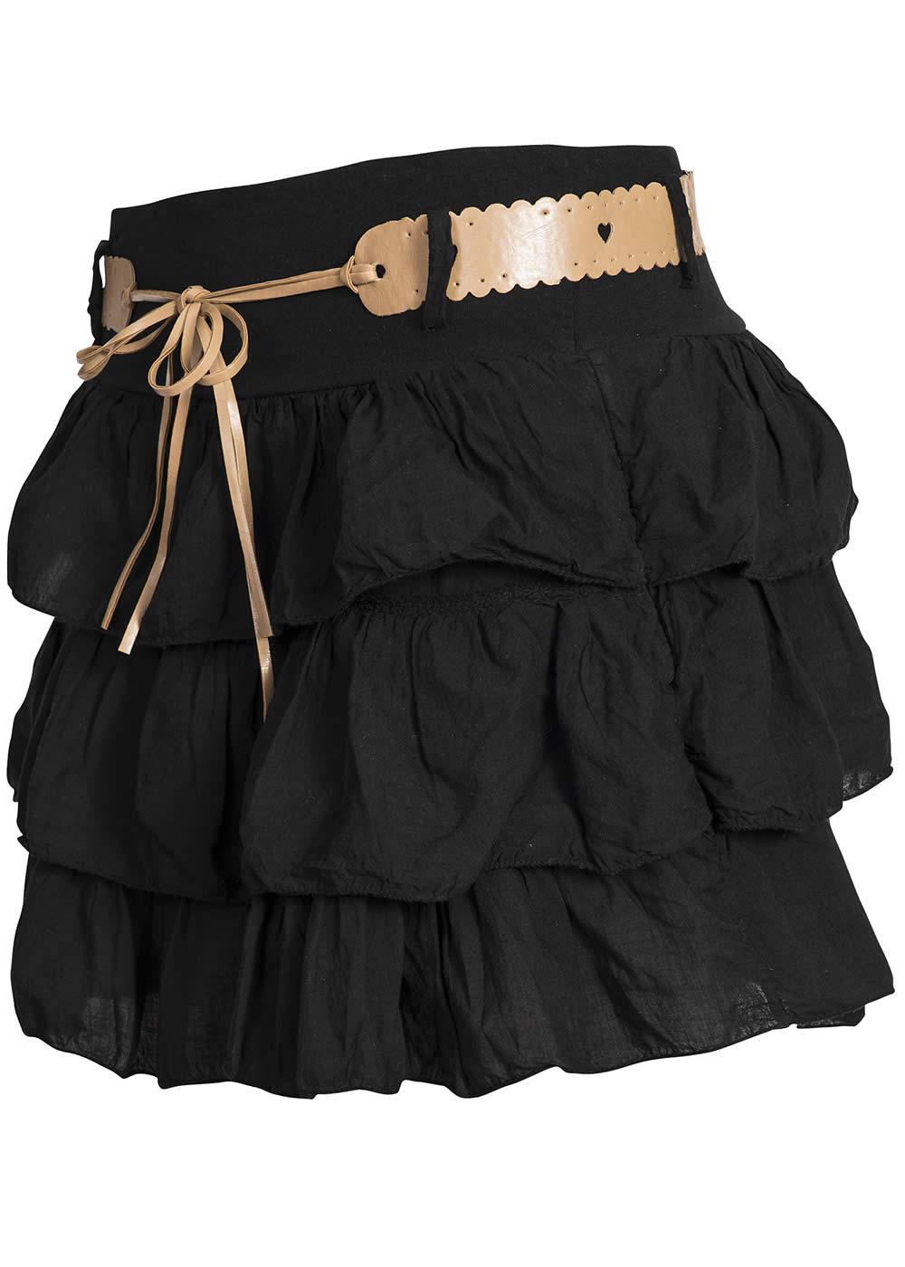 madonna sommer rock mit g rtel breitem bund 4 1393i d schwarz 77onlineshop. Black Bedroom Furniture Sets. Home Design Ideas