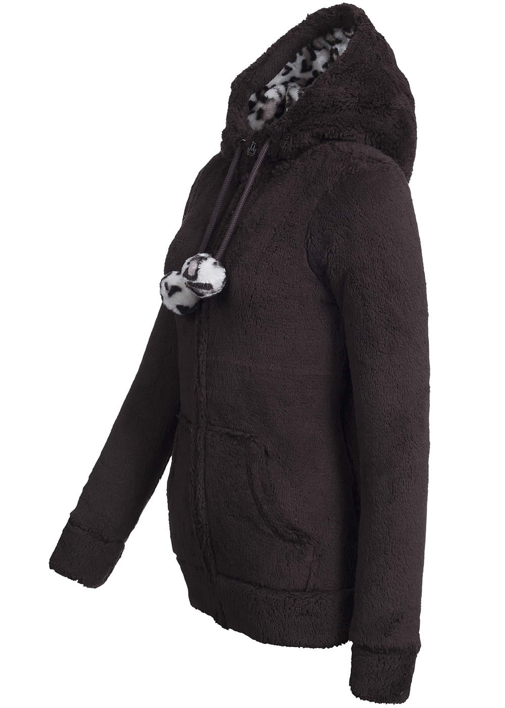 eight2nine damen teddy fleece jacke kapuze mit leo muster. Black Bedroom Furniture Sets. Home Design Ideas