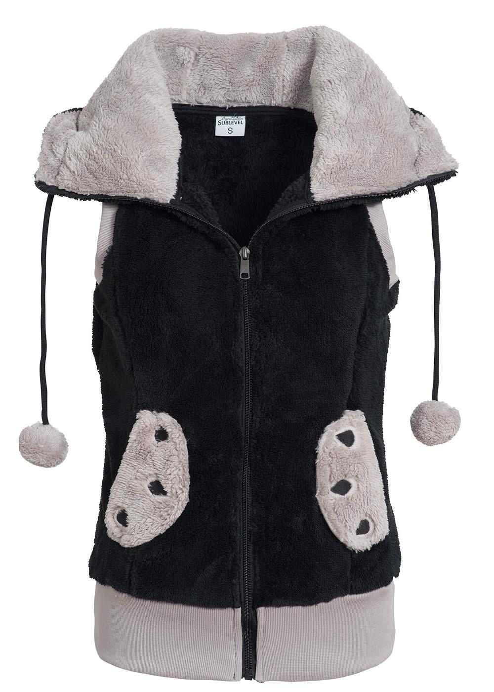 eight2nine damen teddy fleece weste panda kapuze mit ohren. Black Bedroom Furniture Sets. Home Design Ideas