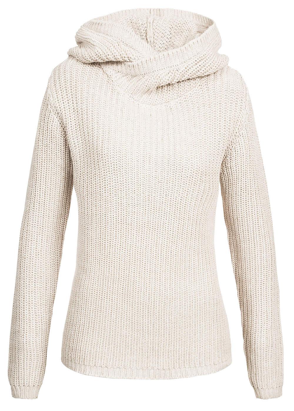 eight2nine damen strick hoodie berlappender kragen kapuze by sublevel beige ebay. Black Bedroom Furniture Sets. Home Design Ideas