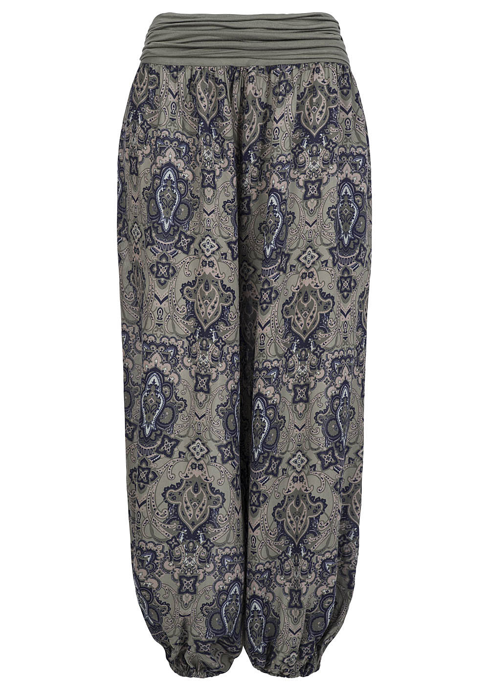 hailys damen sommer hose jasmin am 10968 1 harem style paisley muster khaki blau ebay. Black Bedroom Furniture Sets. Home Design Ideas