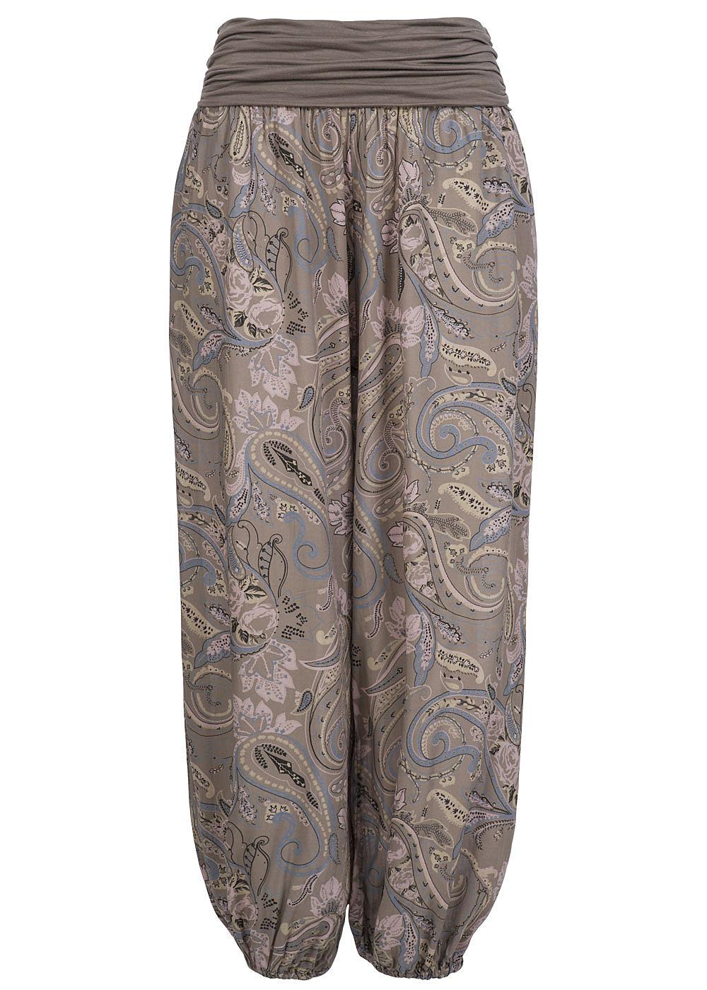 hailys damen sommer hose jasmin am 10968 2 harem style paisley muster taupe. Black Bedroom Furniture Sets. Home Design Ideas