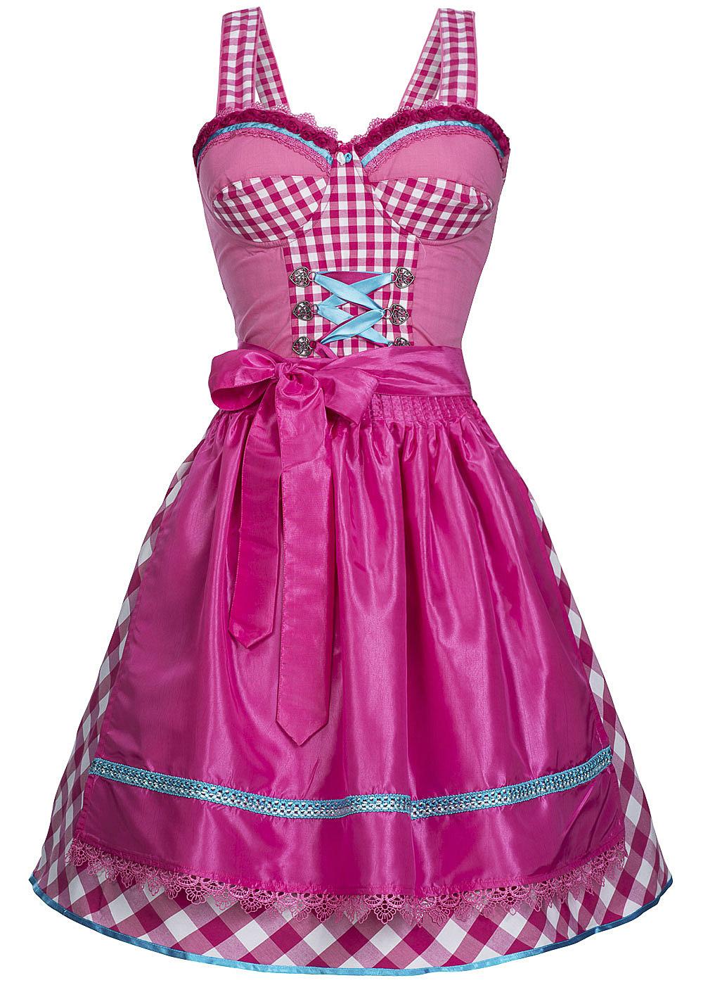 hailys damen dirndl am 1013153 mit sch rze brustpads kariert pink weiss blau. Black Bedroom Furniture Sets. Home Design Ideas