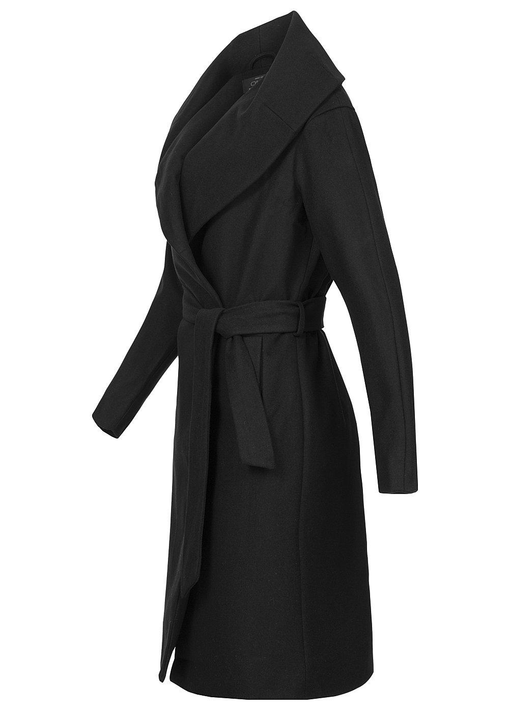 only damen wollmantel drapy 15103339 g rtel schalkragen 2 deko taschen schwarz ebay. Black Bedroom Furniture Sets. Home Design Ideas