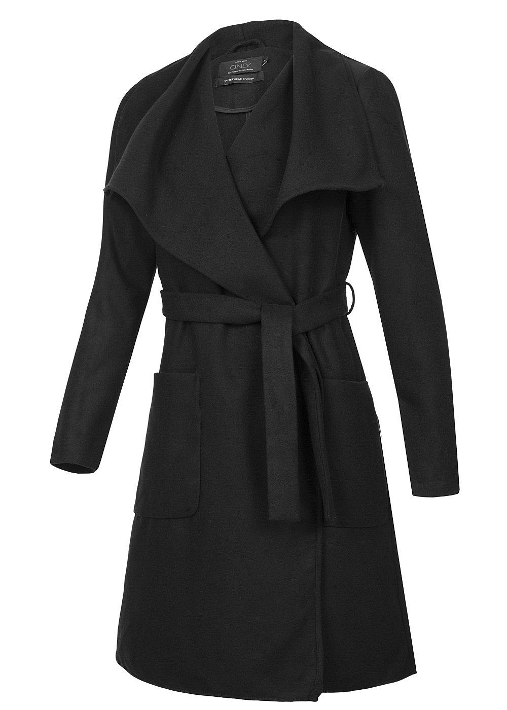 only damen trenchcoat lang phoebe 15109414 breiter kragen bindeg rtel schwarz 77onlineshop. Black Bedroom Furniture Sets. Home Design Ideas