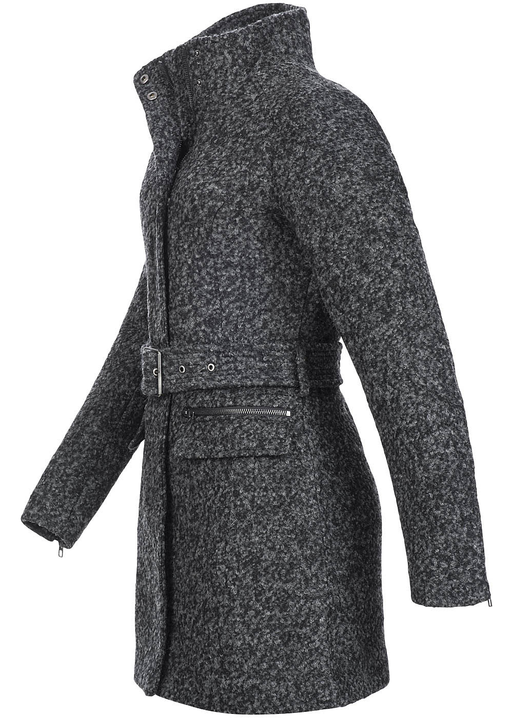 only damen wollmantel alanis 15106673 2 deko taschen g rtel 2 zipper dunkel grau ebay. Black Bedroom Furniture Sets. Home Design Ideas