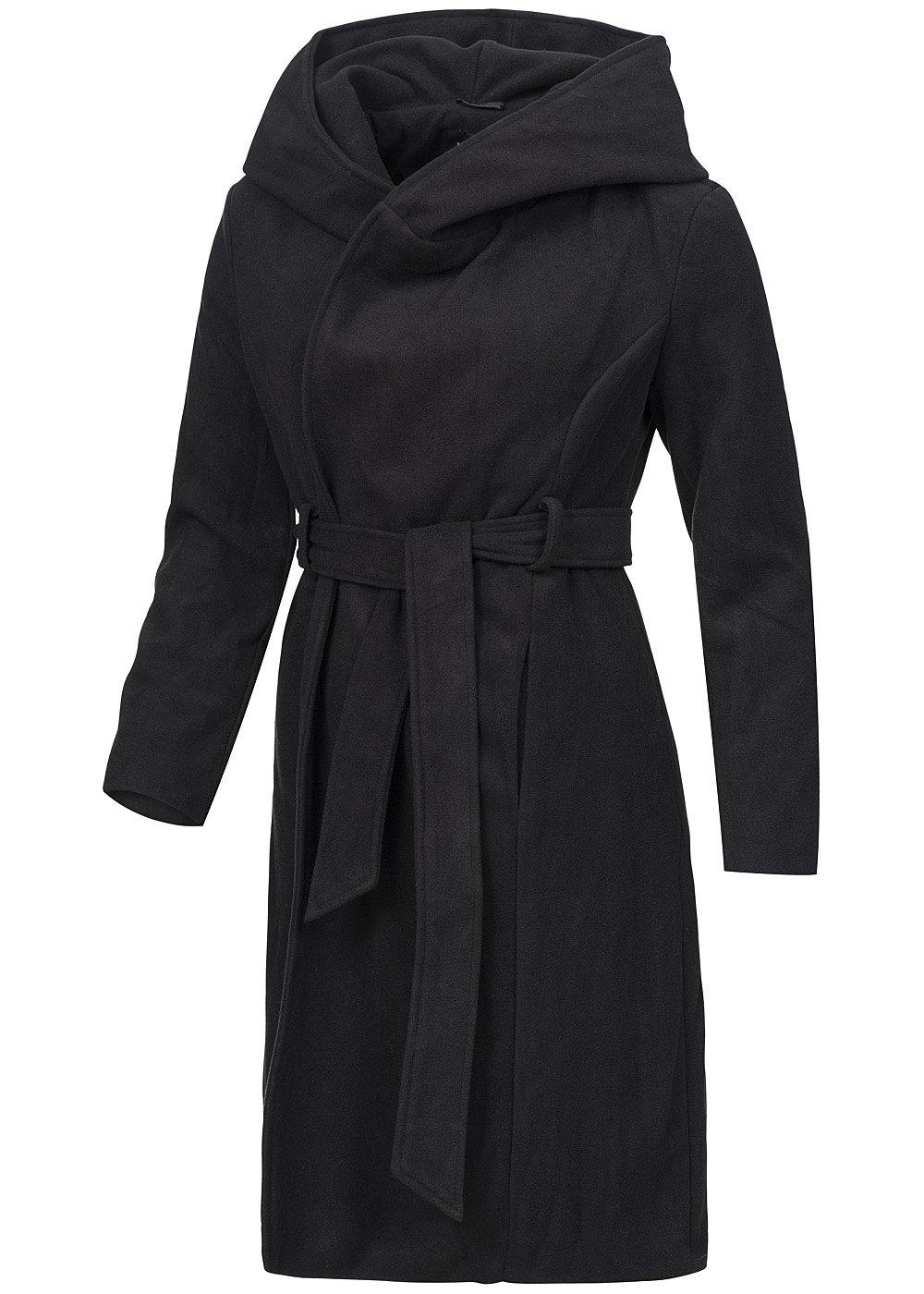 brave soul damen mantel ljk tesslong mit g rtel kapuze 2 taschen schwarz 77onlineshop. Black Bedroom Furniture Sets. Home Design Ideas