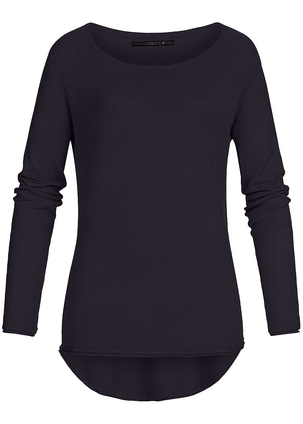ONLY Damen NOOS Long Pullover mit Rollkante am Saum schwarz - Art.-Nr.: 20094465-XL-BK