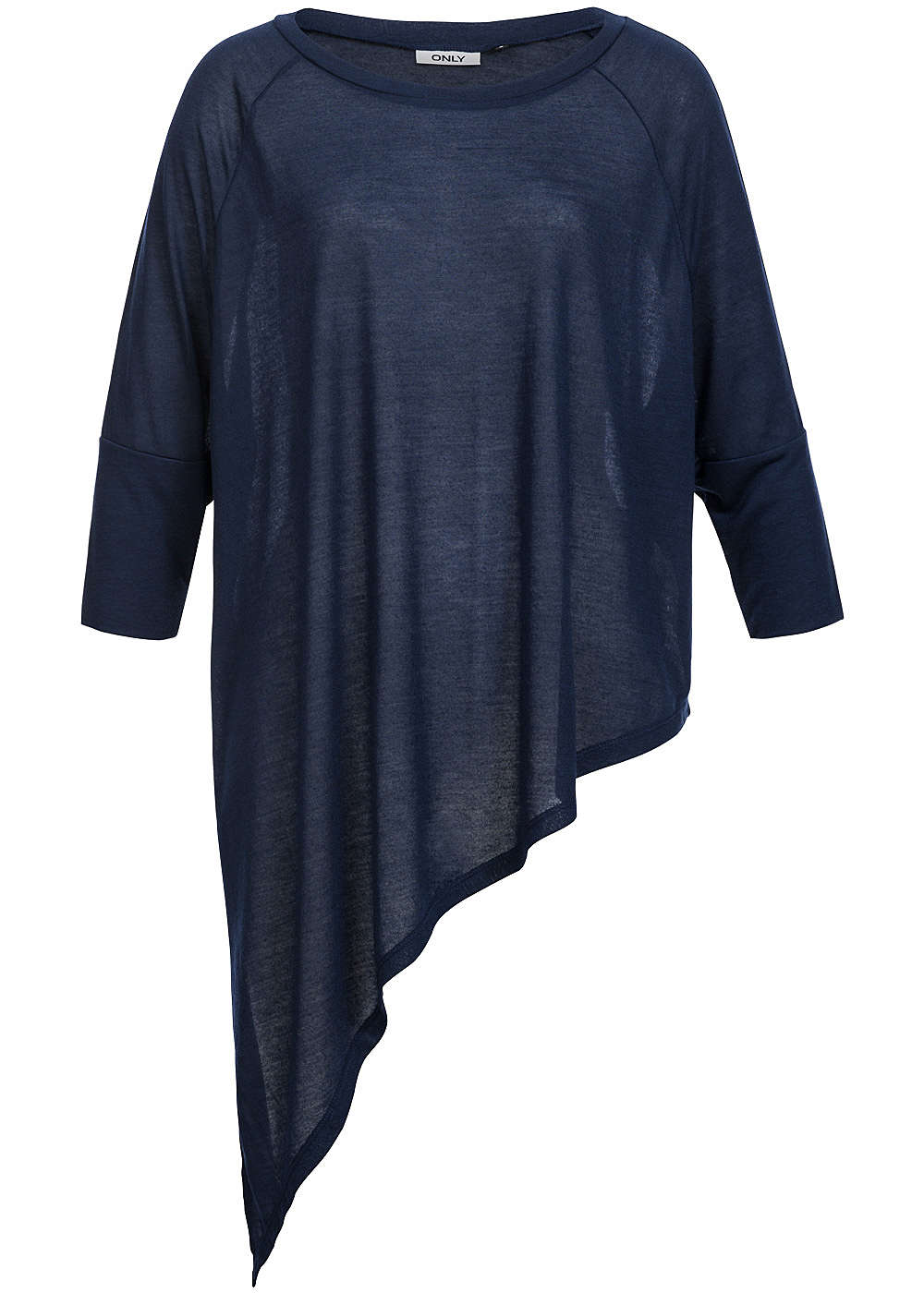 only womens shirt 3 4 sleeve asymmetric cut oversize navy. Black Bedroom Furniture Sets. Home Design Ideas