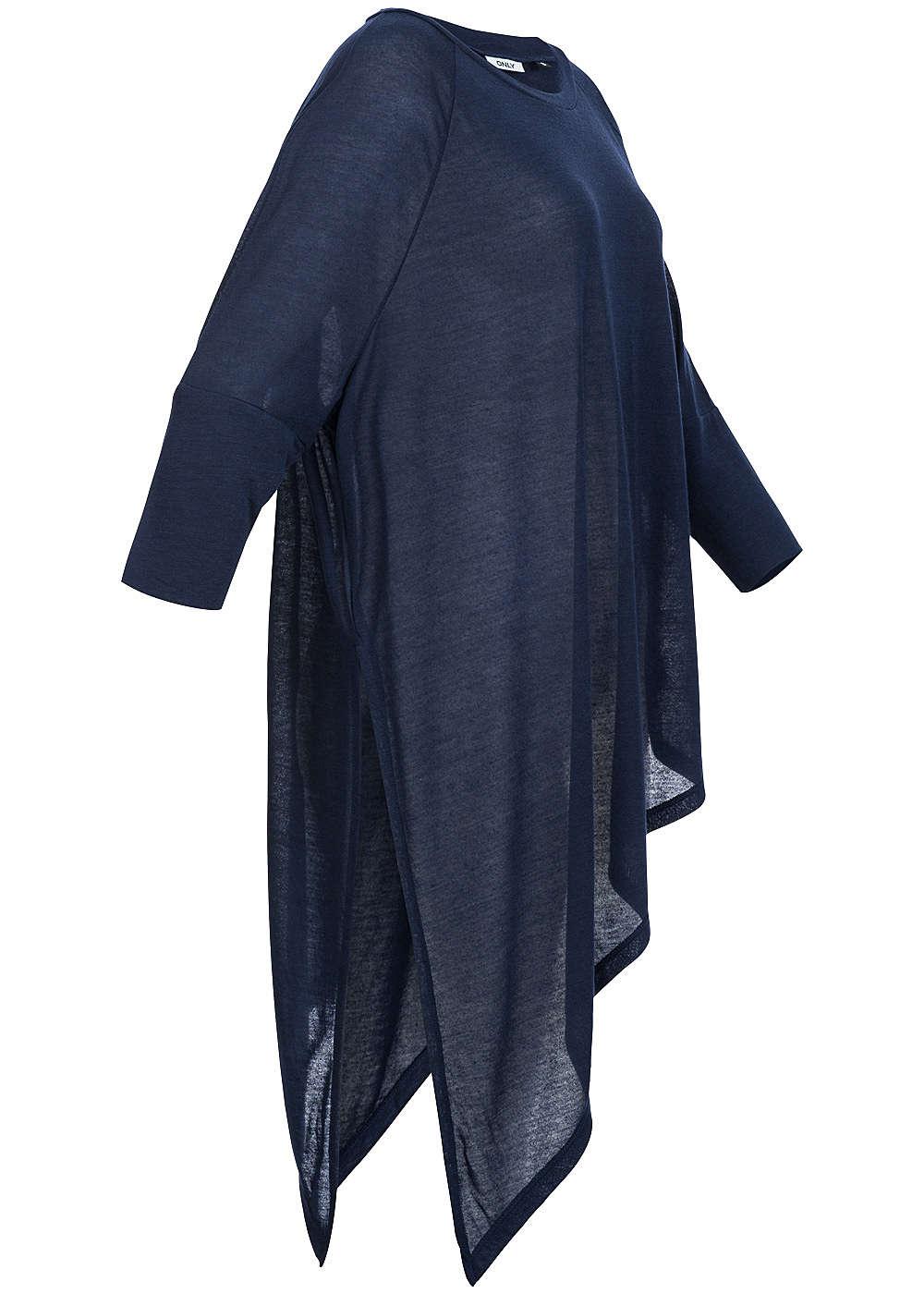 only womens shirt 3 4 sleeve asymmetric cut oversize navy blazer ebay. Black Bedroom Furniture Sets. Home Design Ideas