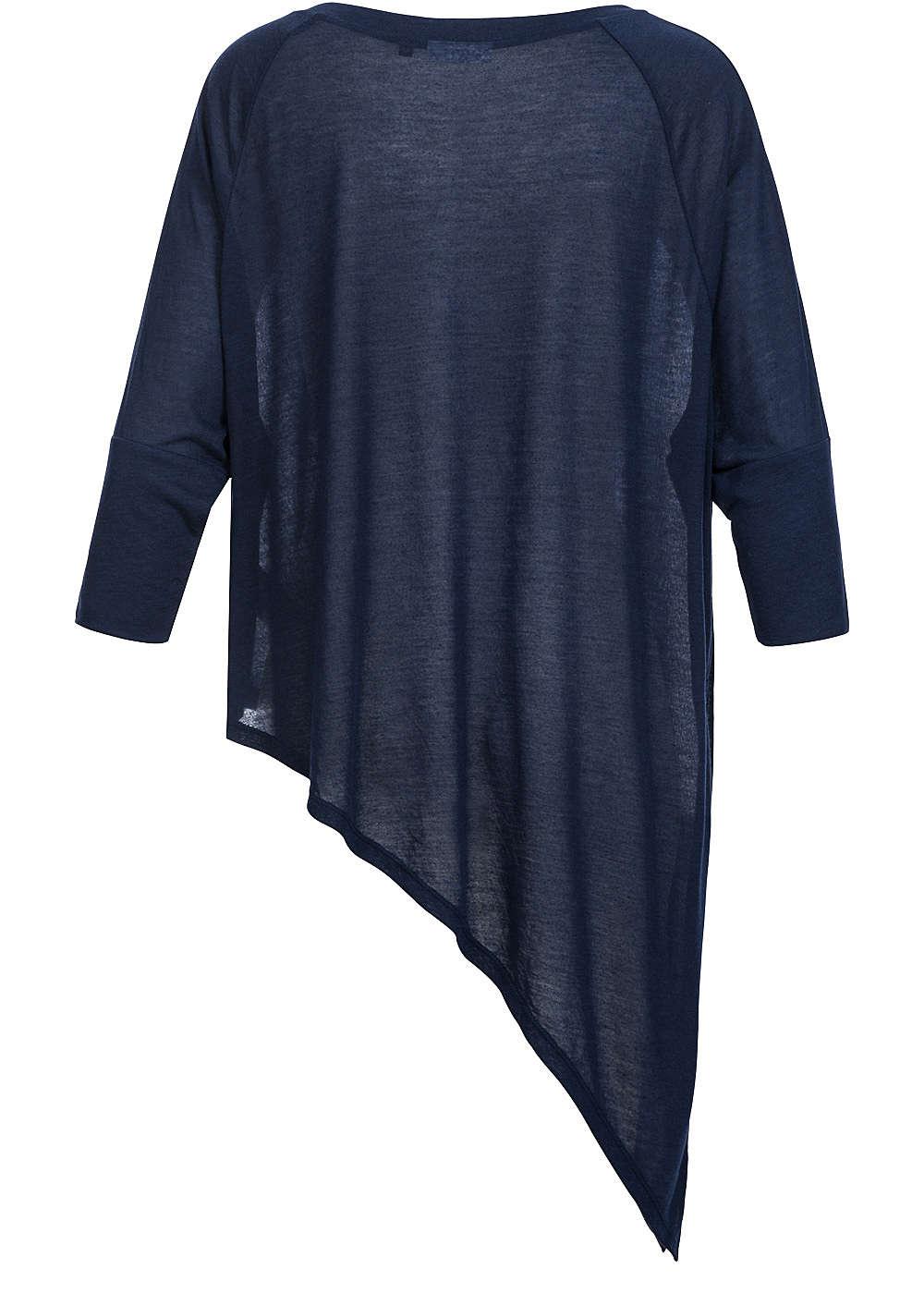 only damen shirt 3 4 rmel asym schnitt oversize navy blazer ebay. Black Bedroom Furniture Sets. Home Design Ideas
