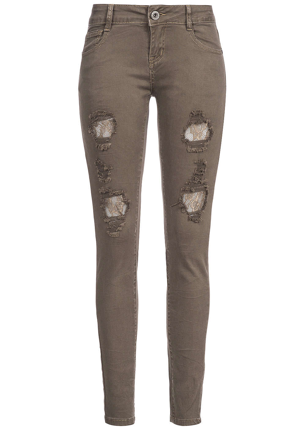 hailys damen jeans 5 pocket style destroy look spitze mit glitzer khaki 77onlineshop. Black Bedroom Furniture Sets. Home Design Ideas