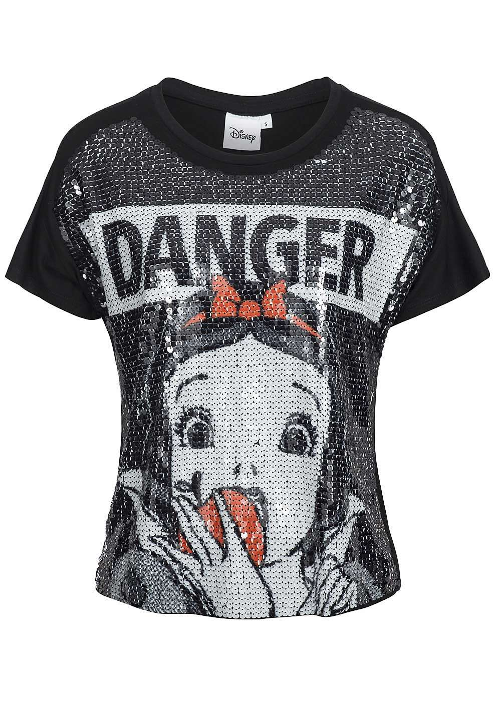 tally weijl damen t shirt pailletten danger motiv schwarz. Black Bedroom Furniture Sets. Home Design Ideas