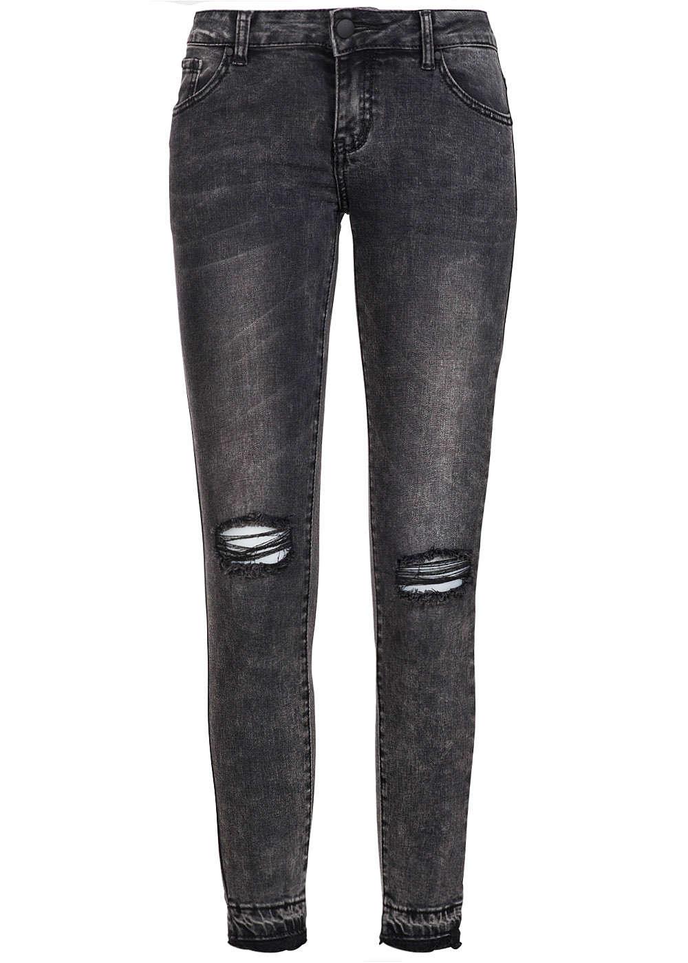 hailys damen jeans destroyed look 5 pocket bein unten ausgefranst schwarz 77onlineshop. Black Bedroom Furniture Sets. Home Design Ideas