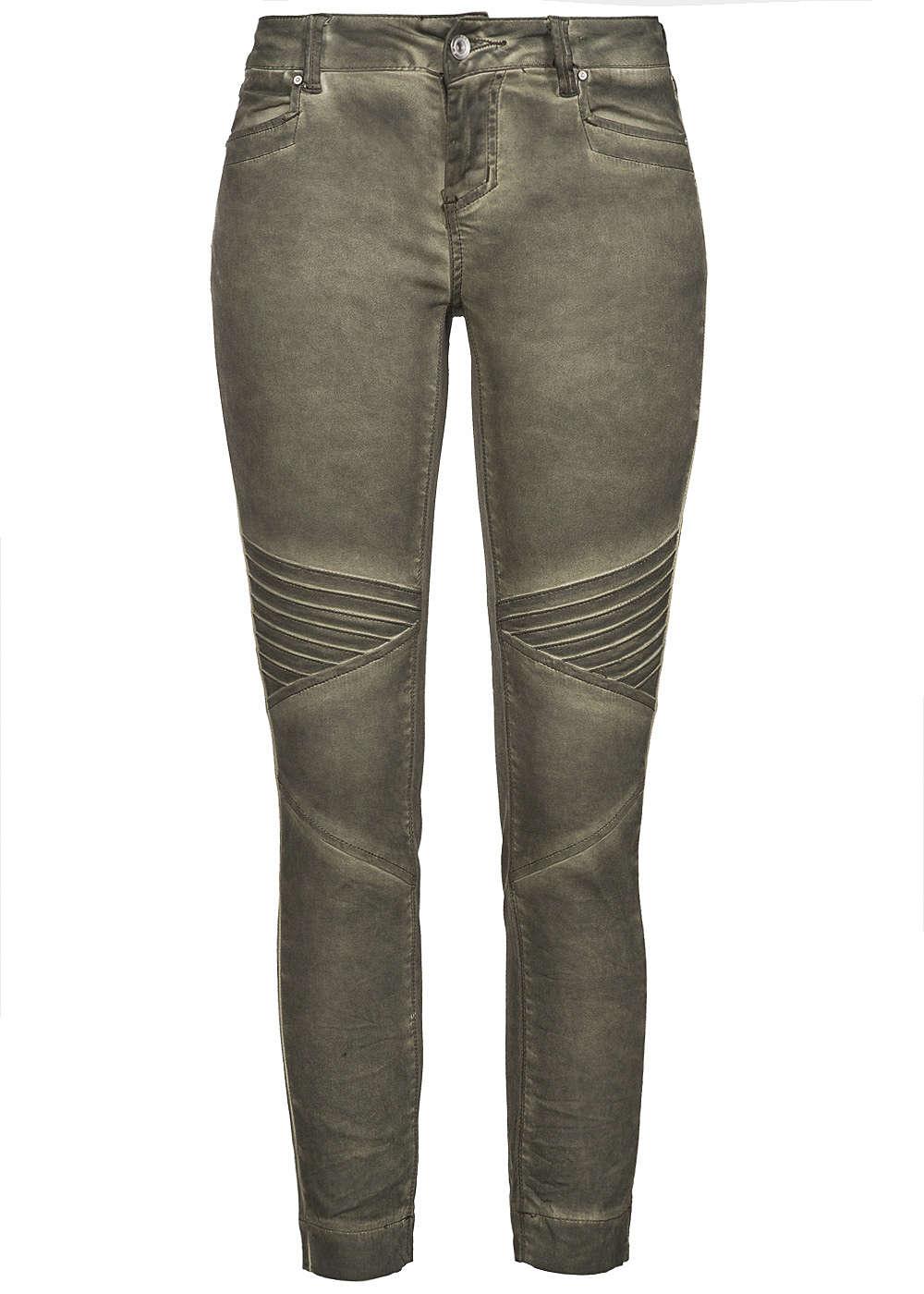 hailys damen jeans biker style 4 pocket washed khaki gr n ebay. Black Bedroom Furniture Sets. Home Design Ideas