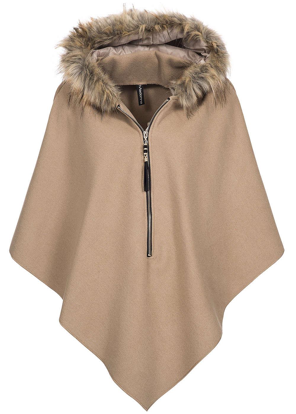 madonna damen poncho kapuze mit kunstfell goldfarb zipper. Black Bedroom Furniture Sets. Home Design Ideas