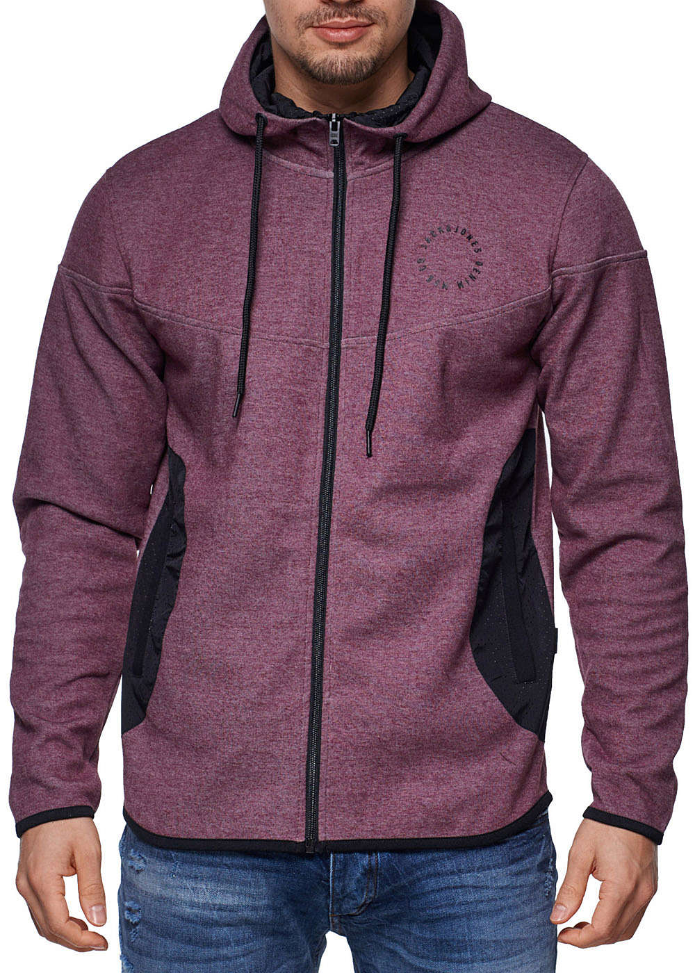 jack and jones zip hoodie 2 taschen kapuze kordelzug patches fig rot melange 77onlineshop. Black Bedroom Furniture Sets. Home Design Ideas
