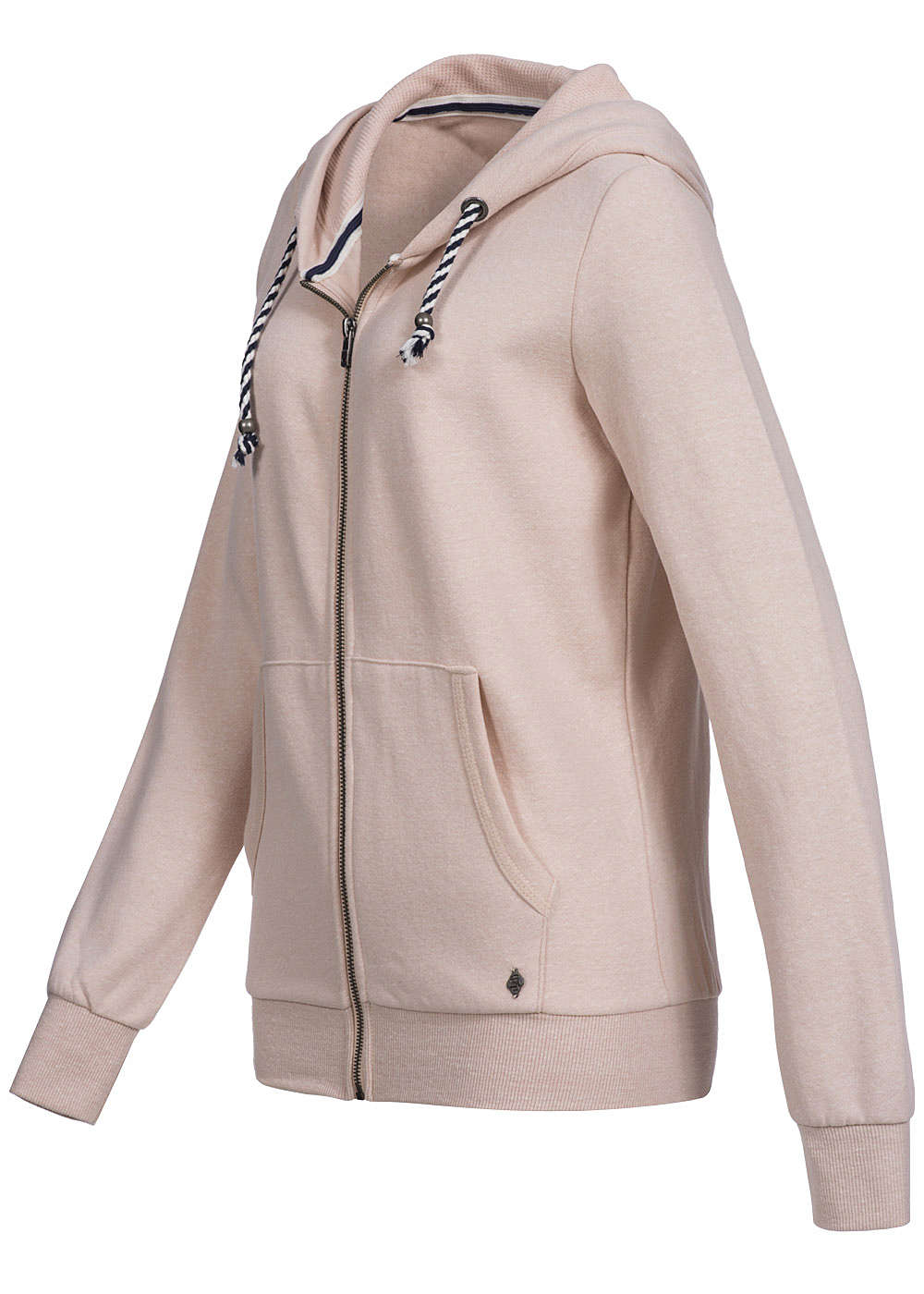 only damen zip hoodie kapuze 2 taschen kordelzug rosa smoke melange ebay. Black Bedroom Furniture Sets. Home Design Ideas