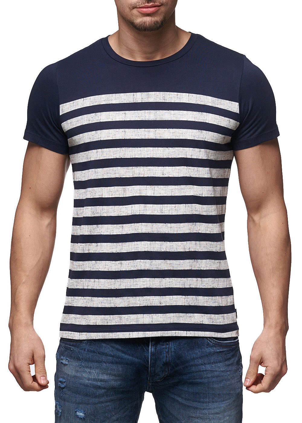 jack and jones herren t shirt crew neck slim fit gestreift. Black Bedroom Furniture Sets. Home Design Ideas