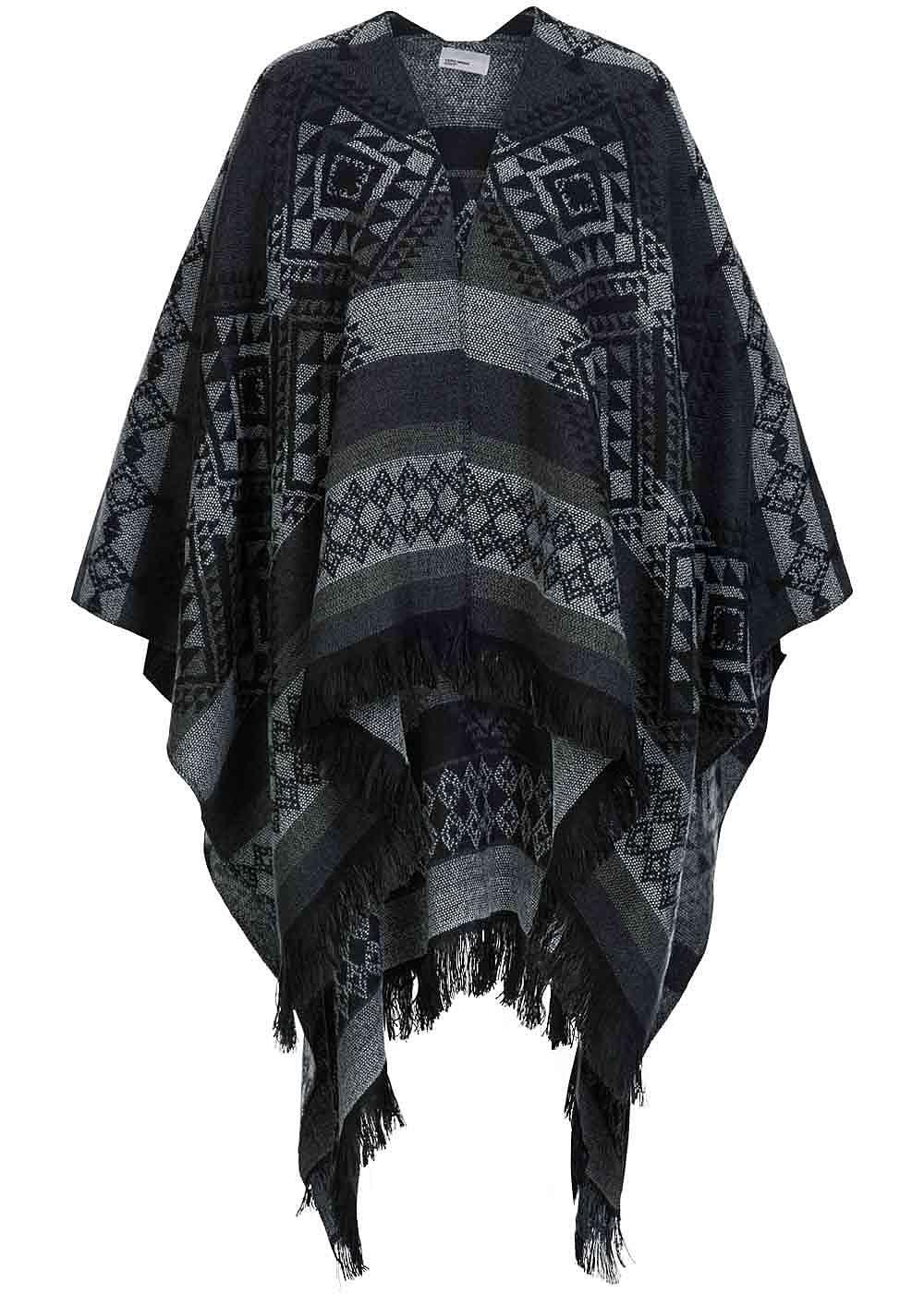 vero moda damen poncho ohne arml cher fransen ethno muster schwarz grau off wei ebay. Black Bedroom Furniture Sets. Home Design Ideas