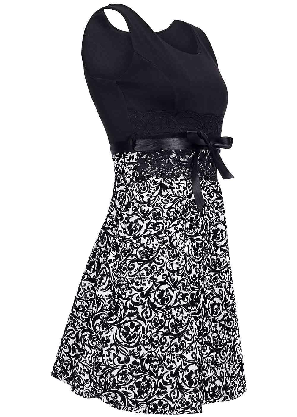 styleboom fashion damen mini kleid florales muster spitze bindeband schwarz weiss 77onlineshop. Black Bedroom Furniture Sets. Home Design Ideas