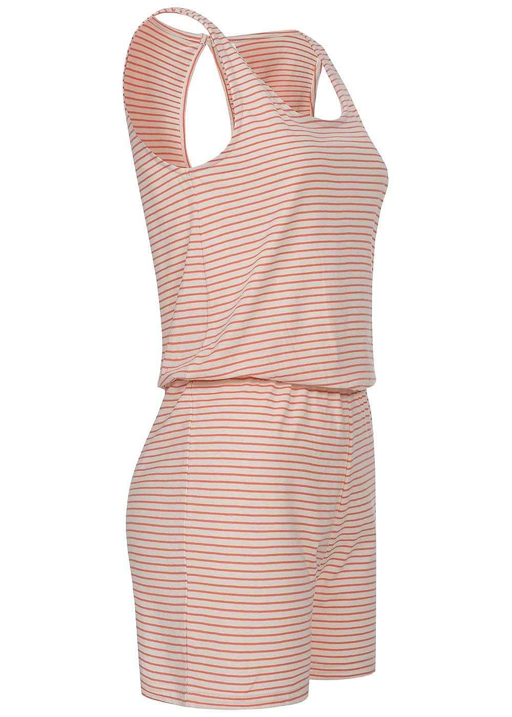 only damen jumpsuit gestreift gummizug r ckenausschnitt coral pink whisper weiss 77onlineshop. Black Bedroom Furniture Sets. Home Design Ideas