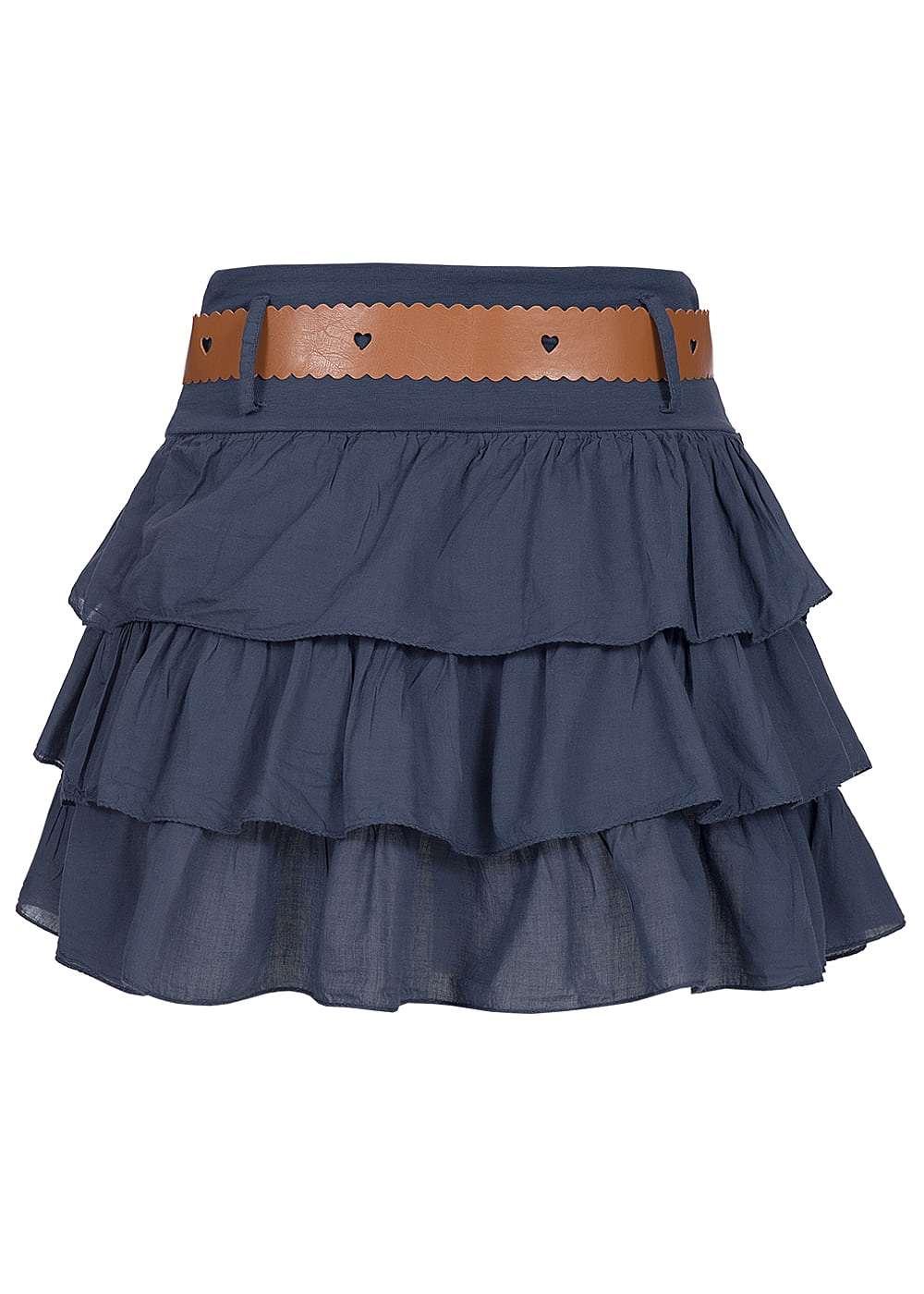 styleboom fashion damen mini stufenrock mit g rtel gummizug navy 77onlineshop. Black Bedroom Furniture Sets. Home Design Ideas