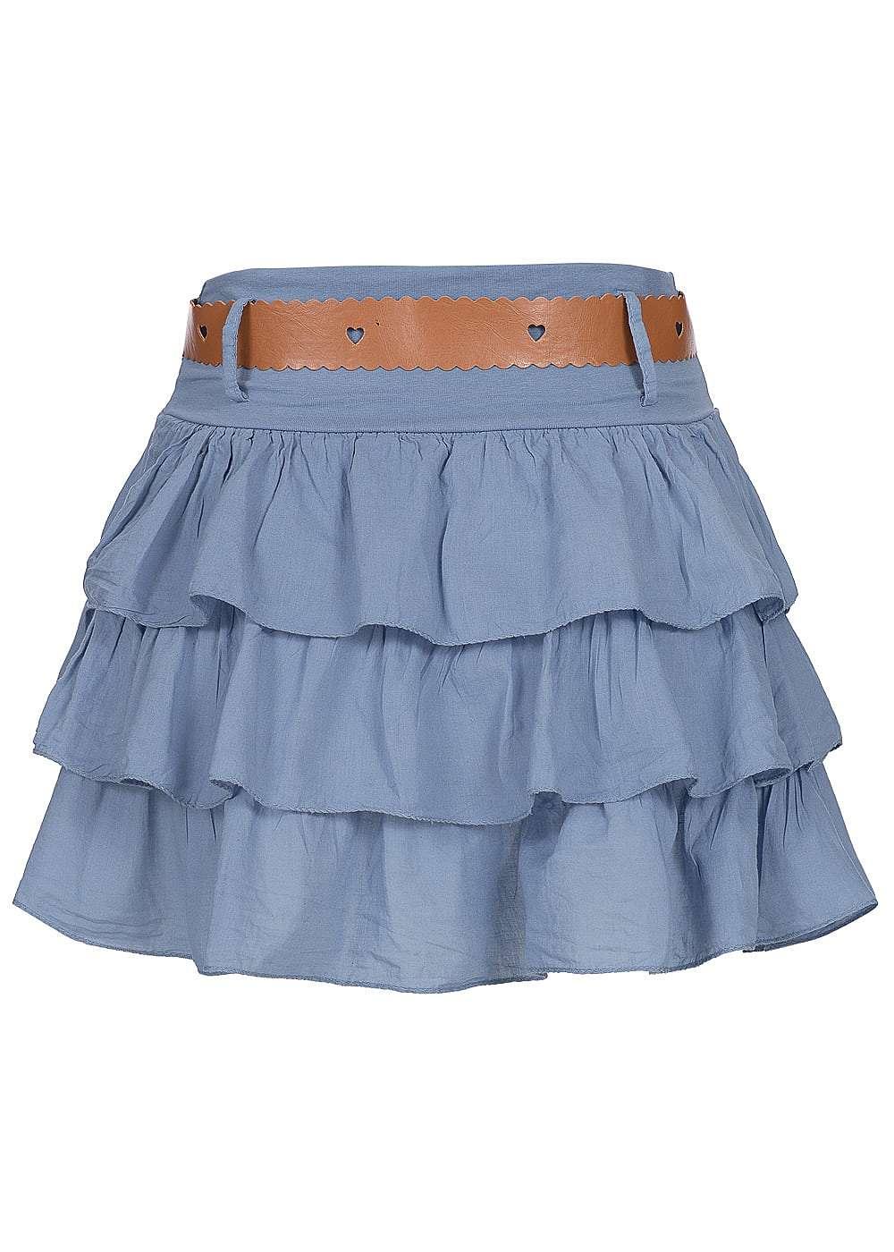 styleboom fashion damen mini stufenrock mit g rtel gummizug jeans. Black Bedroom Furniture Sets. Home Design Ideas