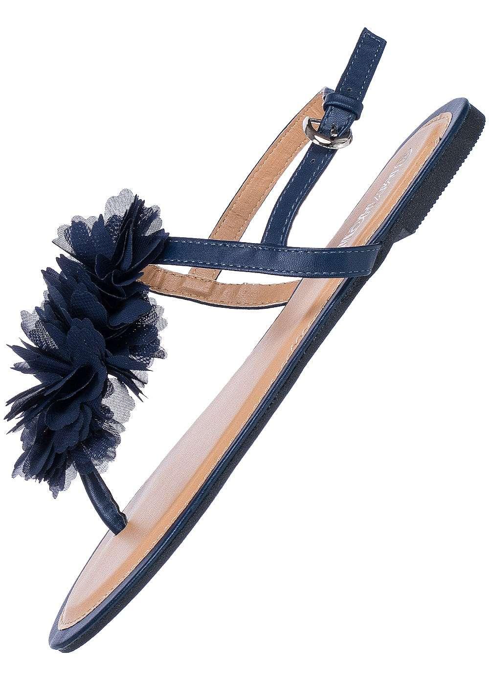hailys damen sandalette t ll blumen navy 77onlineshop. Black Bedroom Furniture Sets. Home Design Ideas