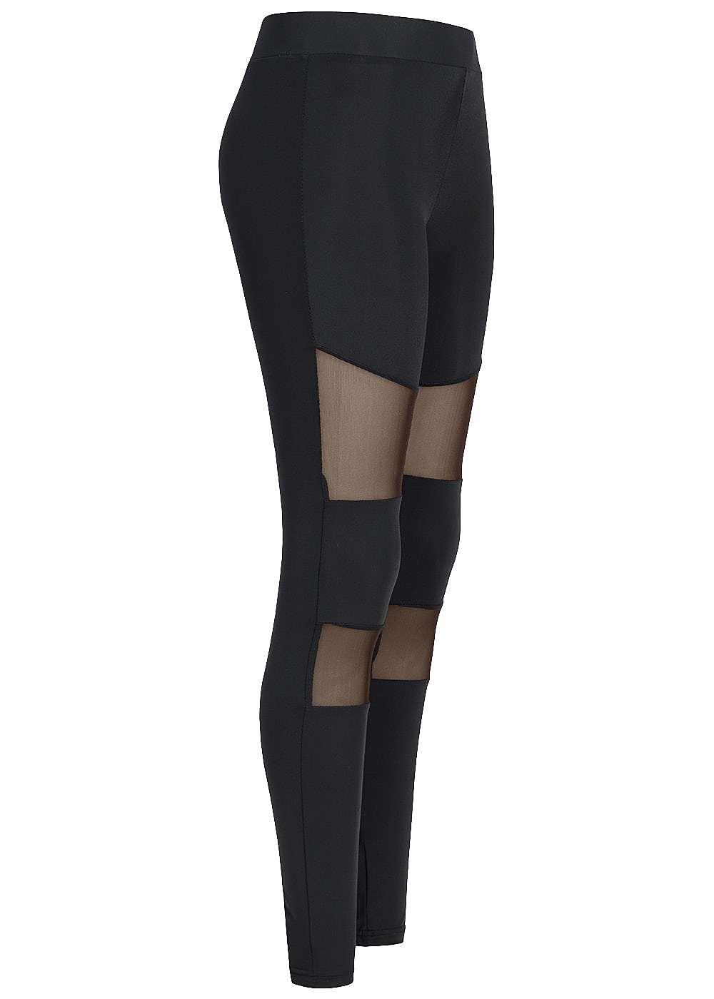seventyseven lifestyle damen leggings gummibund mesh schwarz 77onlineshop. Black Bedroom Furniture Sets. Home Design Ideas