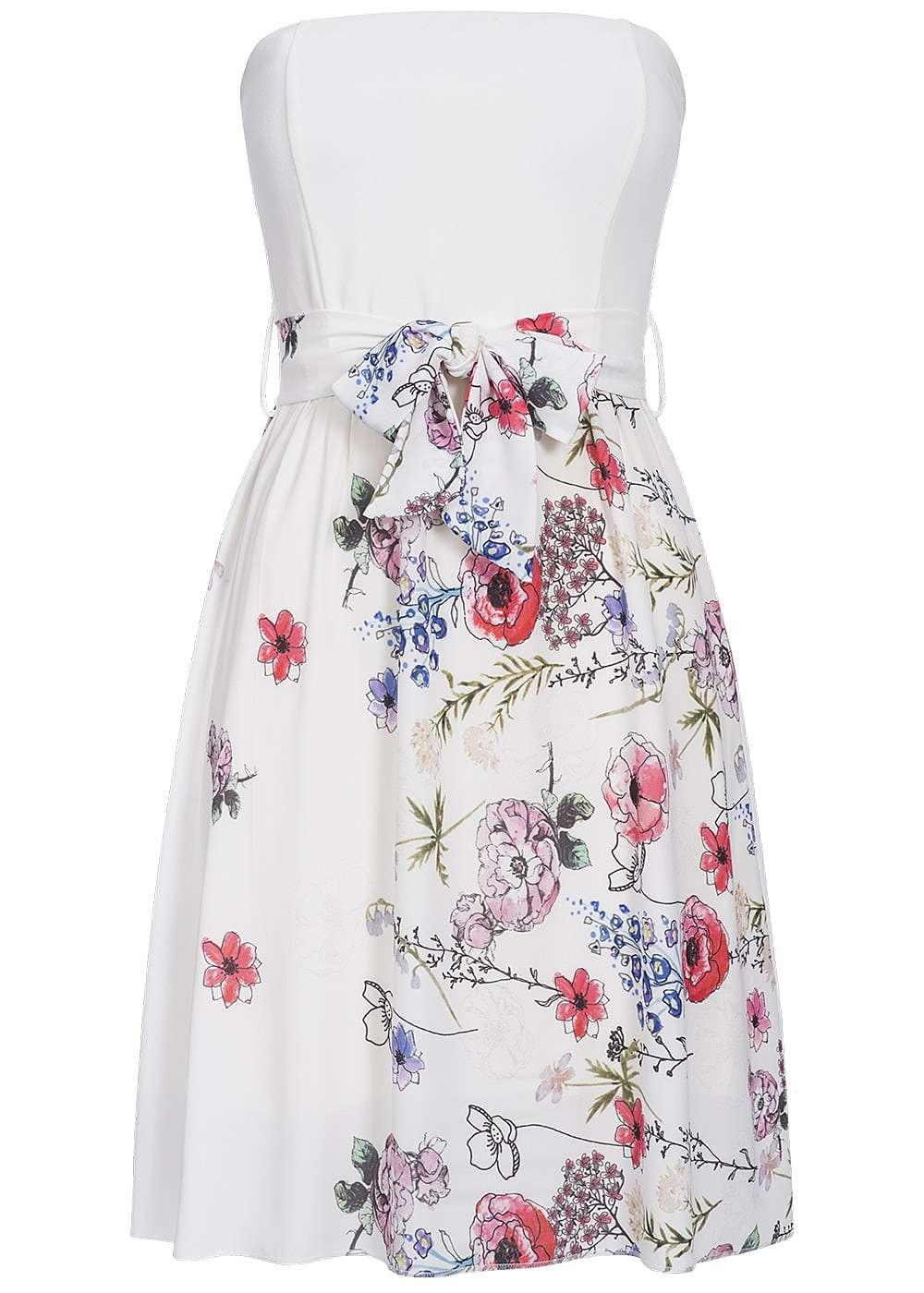 Kleid Blumen Bindeband Damen Muster Styleboom Fashion Mini Bandeau OnPvmN8y0w