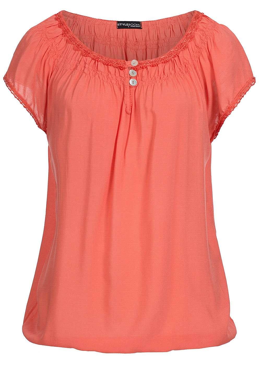 styleboom fashion damen shirt gummizug am saum 3 kn pfe coral orange 77onlineshop. Black Bedroom Furniture Sets. Home Design Ideas