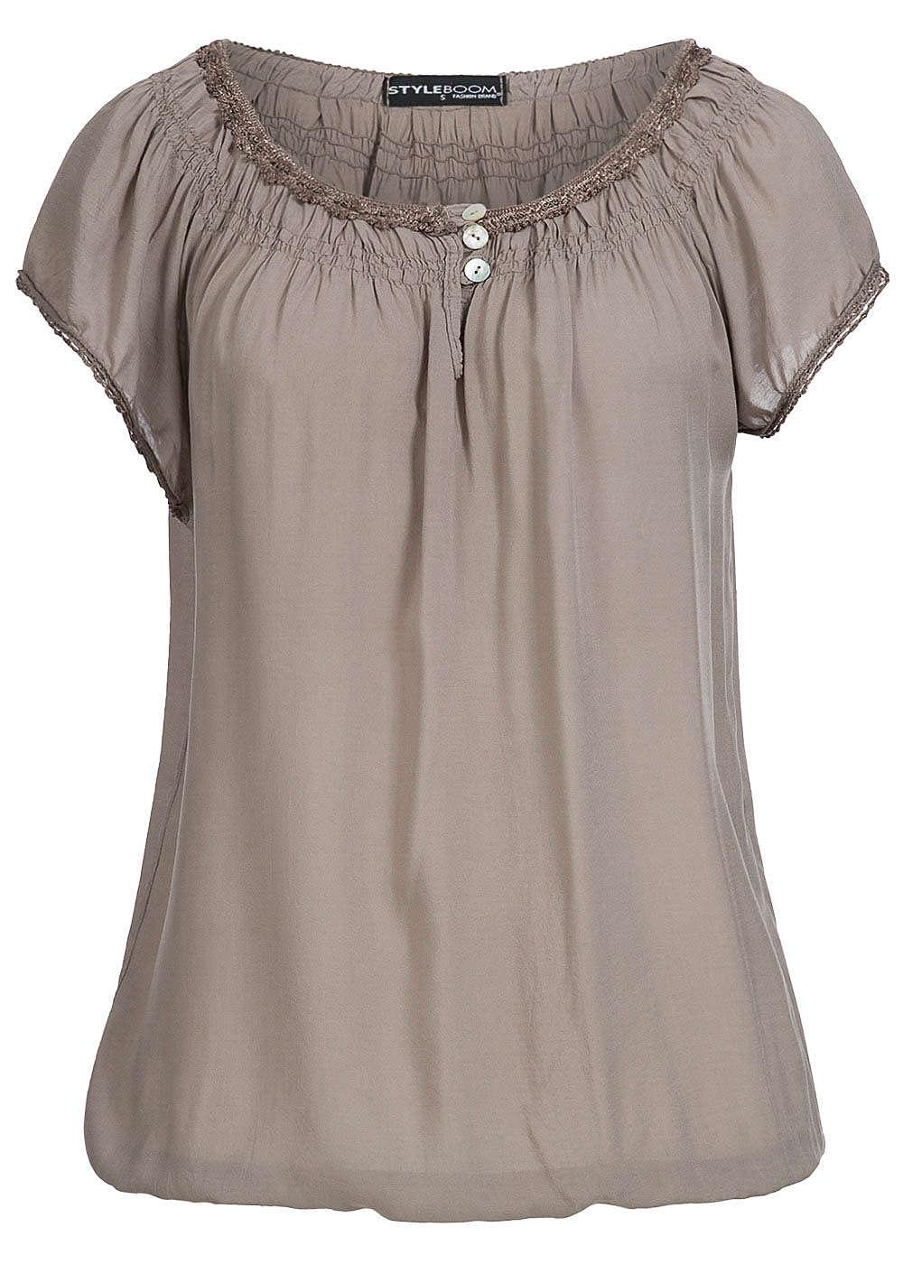 styleboom fashion damen shirt gummizug am saum 3 kn pfe fango braun 77onlineshop. Black Bedroom Furniture Sets. Home Design Ideas