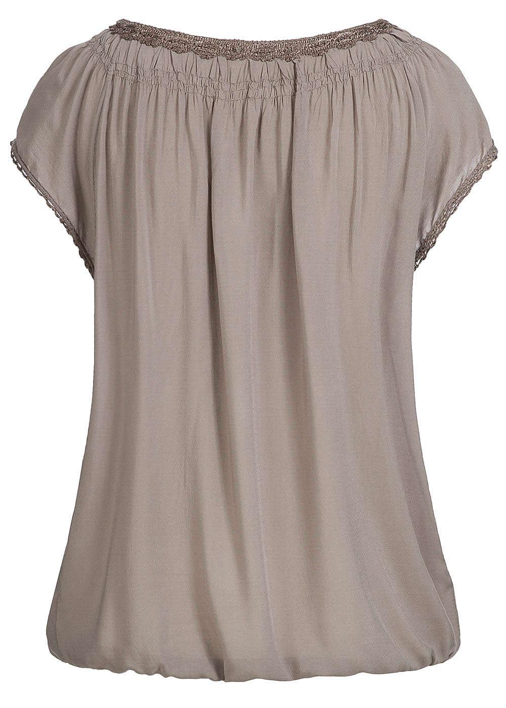 styleboom fashion damen shirt gummizug am saum 3 kn pfe fango braun. Black Bedroom Furniture Sets. Home Design Ideas