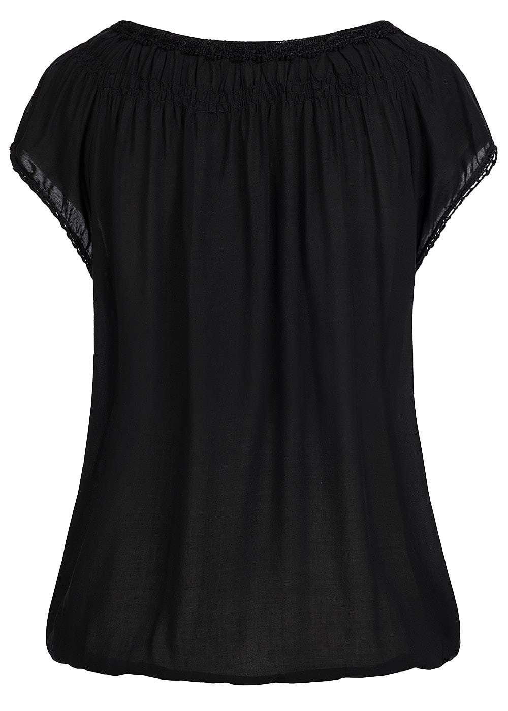styleboom fashion damen shirt gummizug am saum 3 kn pfe schwarz 77onlineshop. Black Bedroom Furniture Sets. Home Design Ideas