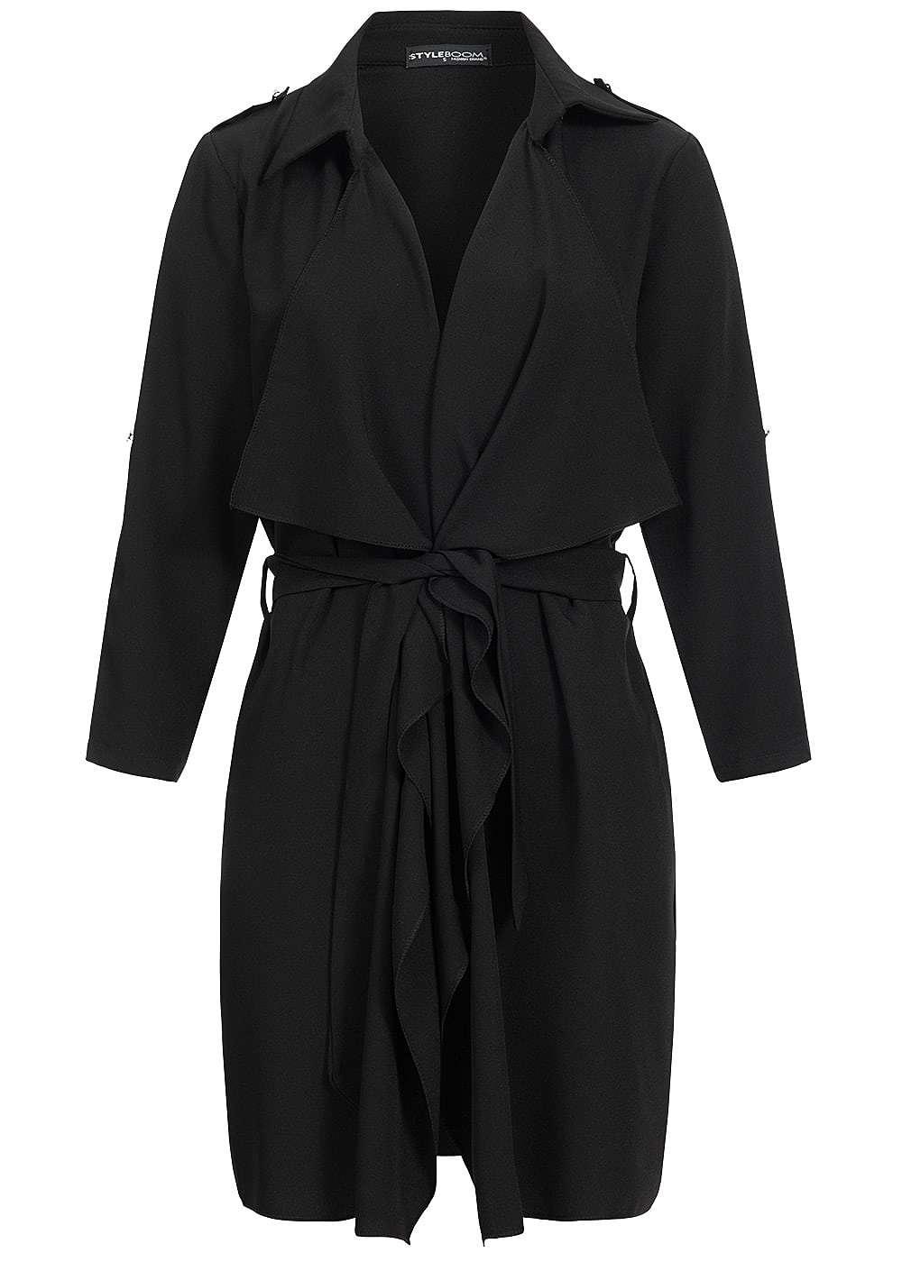 styleboom fashion damen sommer mantel turn up rmel offener schnitt bindeg rtel schwarz. Black Bedroom Furniture Sets. Home Design Ideas