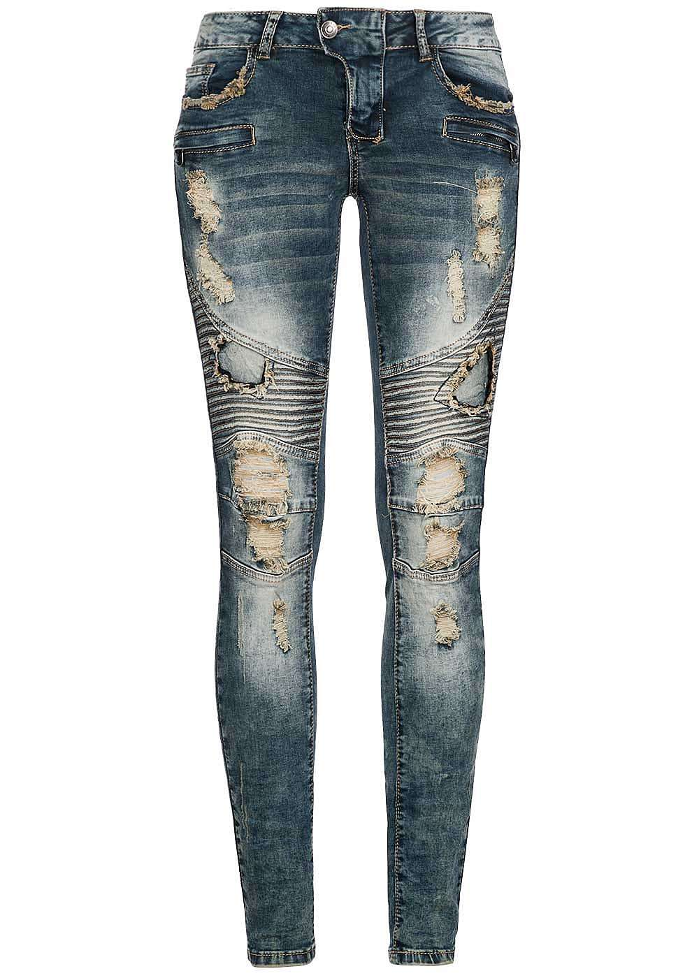 seventyseven lifestyle damen skinny jeans biker style. Black Bedroom Furniture Sets. Home Design Ideas