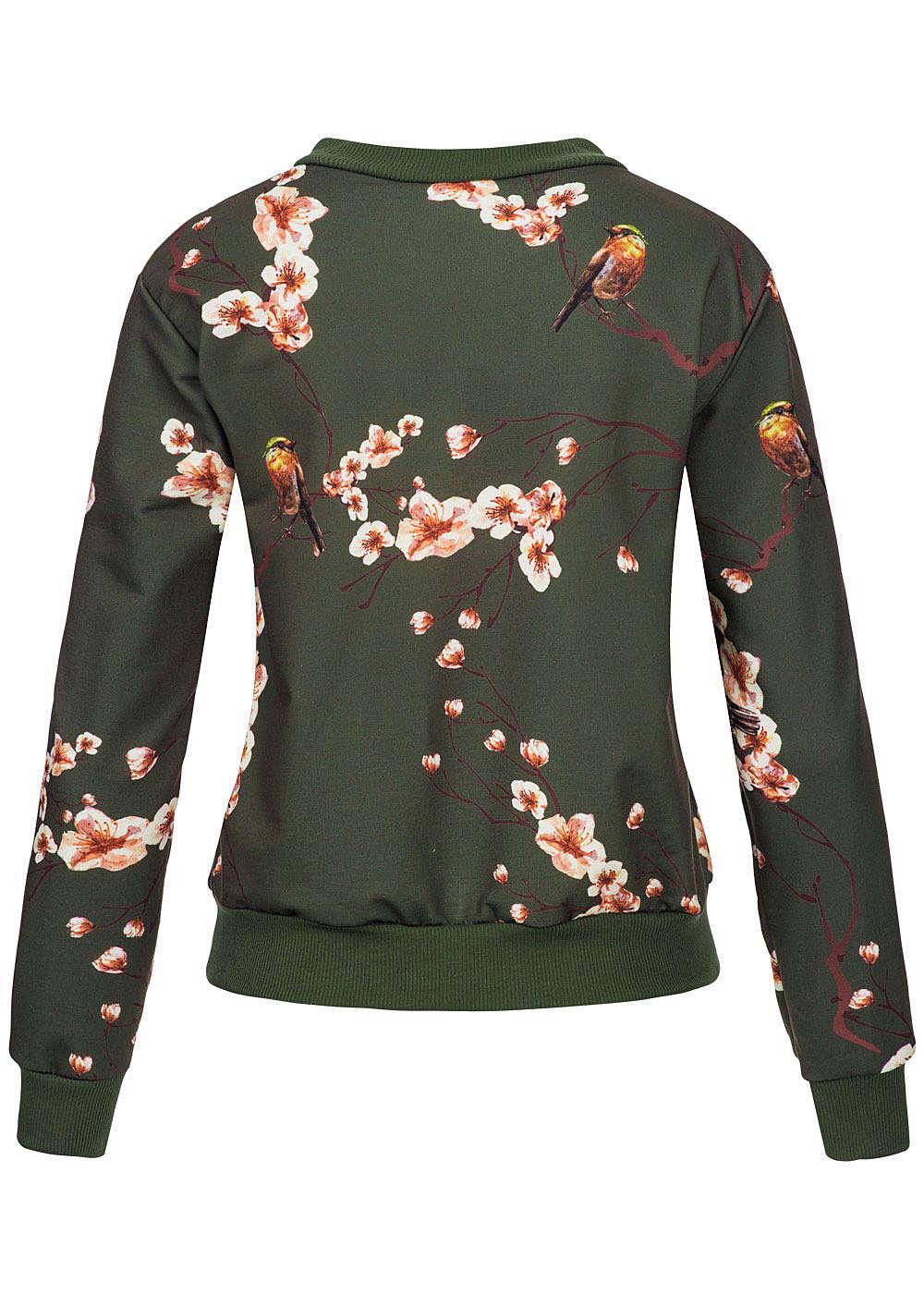 styleboom fashion damen bomber jacke blumen v gel print zipper goldfarben military gn. Black Bedroom Furniture Sets. Home Design Ideas