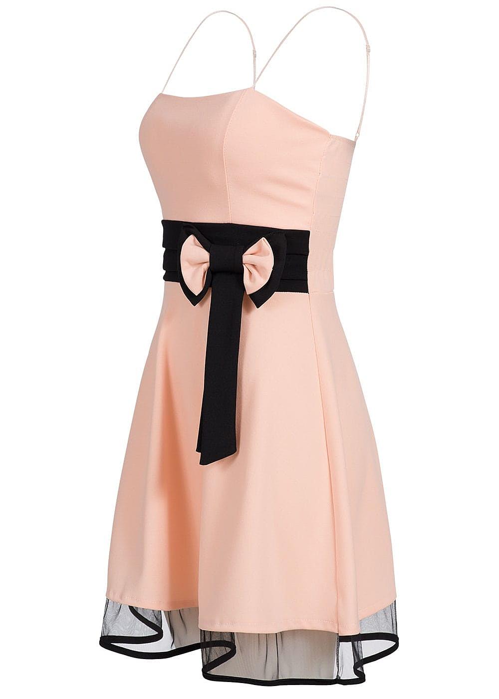 styleboom fashion damen mini spaghettitr ger kleid schleife brustpads rosa schwarz 77onlineshop. Black Bedroom Furniture Sets. Home Design Ideas