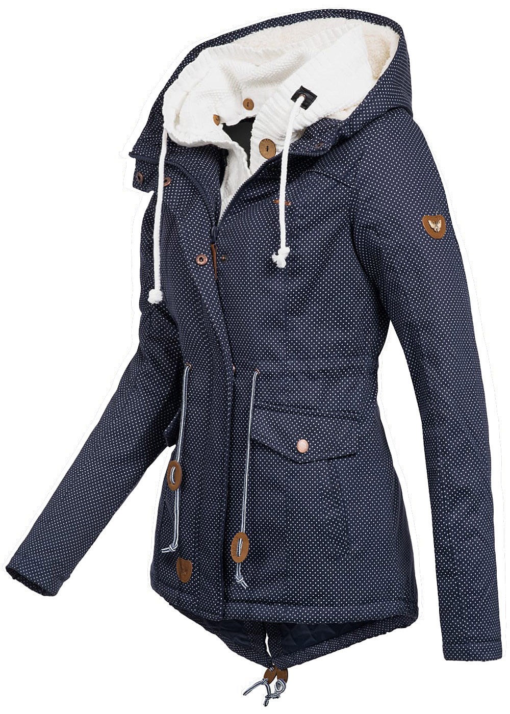 seventyseven lifestyle damen winter parka abn strickeinsatz punkte muster navy blau weiss. Black Bedroom Furniture Sets. Home Design Ideas