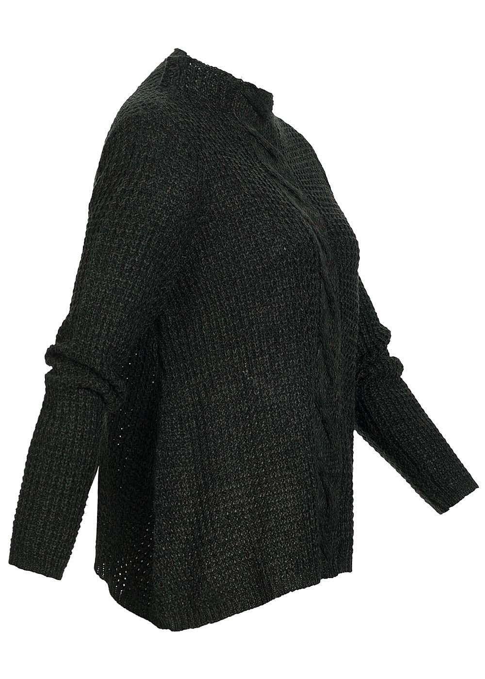 only damen strick pullover oversize grobstrick scarab gr n schwarz 77onlineshop. Black Bedroom Furniture Sets. Home Design Ideas