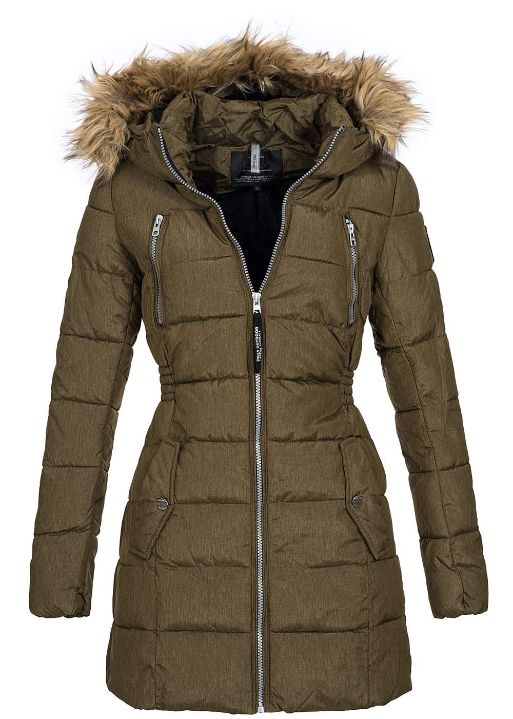 only damen winter mantel gesteppt kapuze kunstfell abn 4 taschen beech gr n 77onlineshop. Black Bedroom Furniture Sets. Home Design Ideas