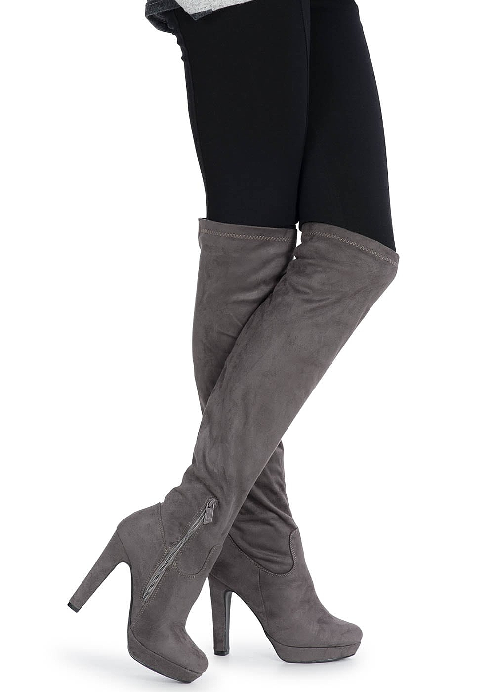 free shipping 15fca db13a Seventyseven Lifestyle Schuh Overknee Plateau Stiefel Absatz 12cm Zipper  grau