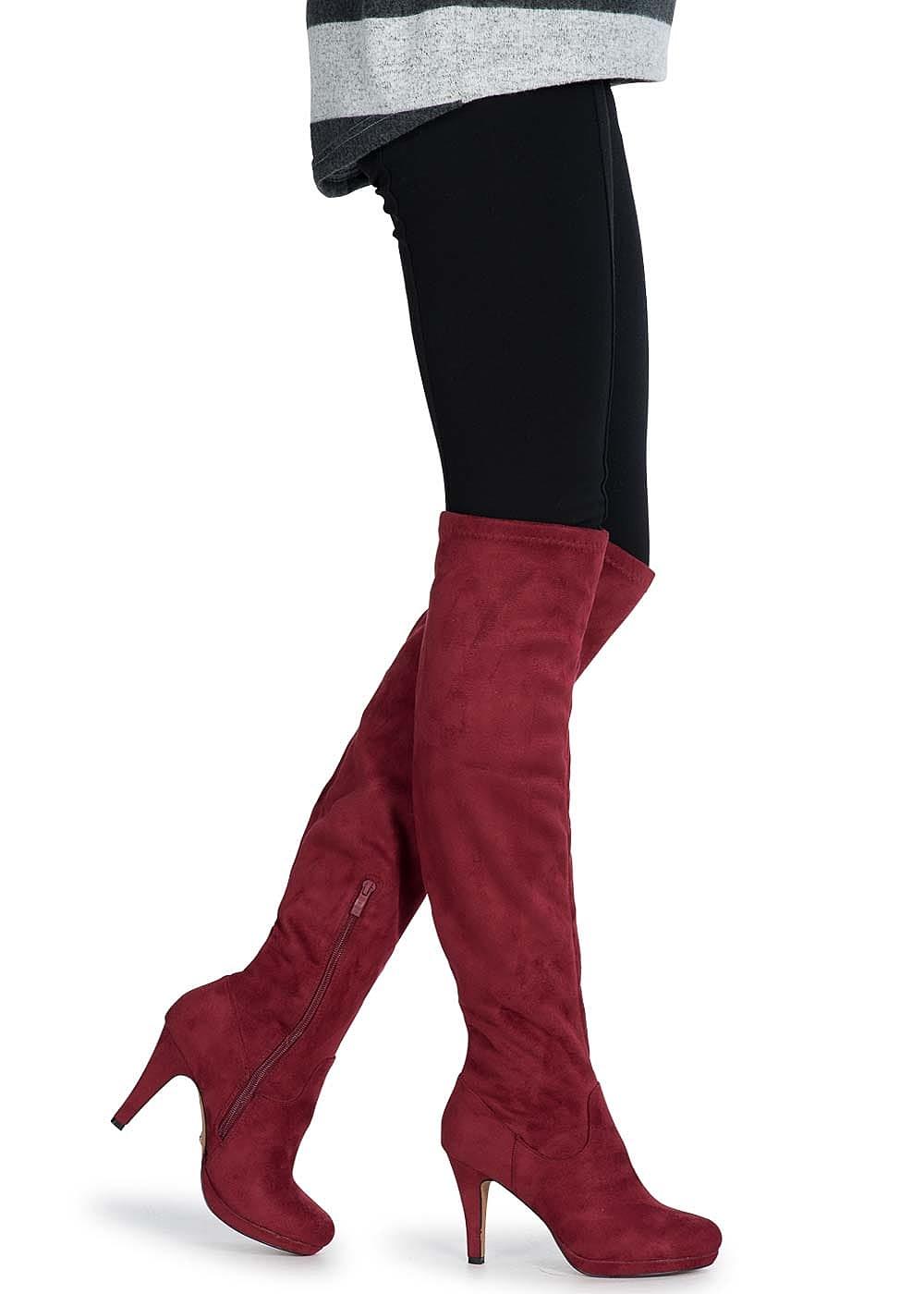 1cefe406b09940 Seventyseven Lifestyle Schuh Overknee Stiefel schmaler Absatz 9cm ...