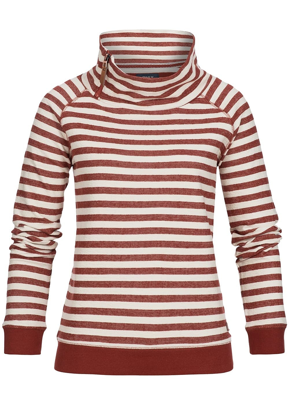 ONLY Damen Sweater gestreift Zipper am Stehkragen rot cloud dancer weiss - Art.-Nr.: 16127529-XS-RE