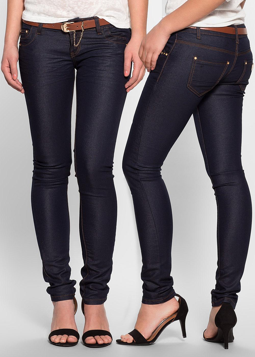 seventyseven lifestyle hose damen jeans mit g rtel 5 pockets dunkel blau denim 77onlineshop. Black Bedroom Furniture Sets. Home Design Ideas