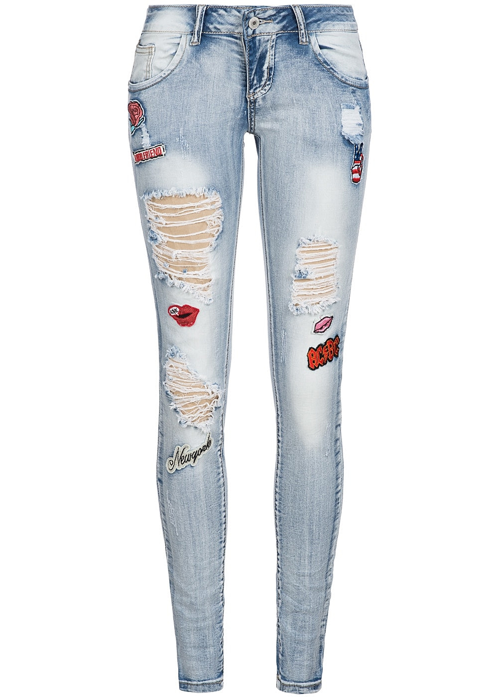 seventyseven lifestyle hose damen jeans destroy look patches 5 pockets hell blau dn 77onlineshop. Black Bedroom Furniture Sets. Home Design Ideas